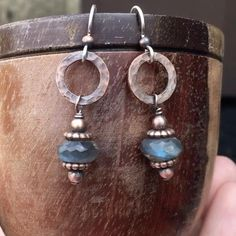 Rustic labradorite earrings , hammered copper with sterling silver ear wires. Copper Earrings, Copper Jewelry, Gemstone Earrings, Wire Jewelry, Beaded Earrings, Boho Jewelry, Statement Earrings, Earrings Handmade, Beaded Jewelry