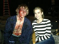 Evan Peters & Emma Roberts on the set of American Horror Story: Coven