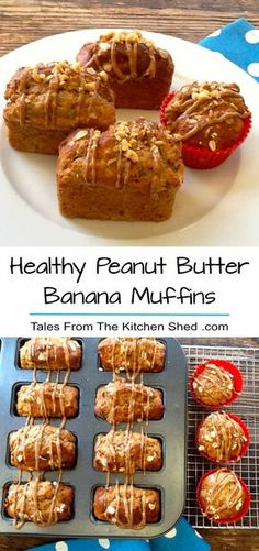 My Healthy Peanut Butter Banana Muffins recipe is a great way to use up over ripe bananas ! A peanut butter lover's healthy treat with a peanut butter drizzle on top. Perfect at any time of the day be it breakfast, a teatime treat or popped into your lunc Healthy Peanut Butter, Peanut Butter Recipes, Desserts With Peanut Butter, Peanut Butter Banana Bread, Peanut Butter Breakfast, Healthy Treats, Healthy Desserts, Healthy Muffins, Healthy Foods