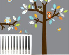 Pared pegatinas vinilo pared calcomanía árbol con buhos vivero de aves tatuajes de pared