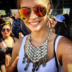 Josephine Skriver shows off statement accessories at Coachella