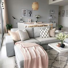 Living Room Decor Modern, Pink Living Room, Living Room Grey, Trendy Living Rooms, Apartment Living Room, Dining Room Combo, Living Room Decor Apartment, Modern Apartment Decor, Modern Apartment Living Room