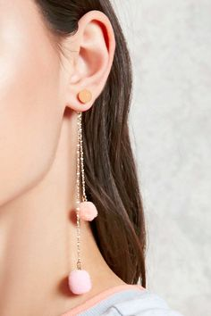 It Was Only a Matter of Time Before Millennial Pink Pom-Pom Earrings Took Over Jewelry Design Earrings, Gold Earrings Designs, Ear Jewelry, Girls Jewelry, Cute Earrings, Designer Earrings, Cute Jewelry, Beautiful Earrings, Beaded Jewelry