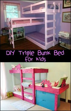 These triple bunk beds make good use of space in a shared bedroom! Is this the perfect bedroom idea for your kids? Bunk Beds Small Room, Loft Bunk Beds, Bunk Beds With Stairs, Kids Bunk Beds, Small Rooms, Pallet Bunk Beds, Bed Rooms, Bedroom For Girls Kids, Triple Bunk Beds