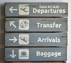 18 x 18 Airport Departures Transfers Arrivals by DollickDesigns