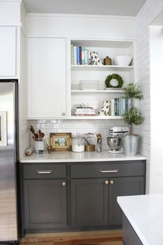 Kitchen The Inspired Room Christmas House Tour, kitchen storage, subway tiles, kitchen work station, gray and white kitchen cabinets