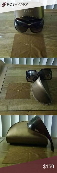 GUCCI Sunglasses- Authentic Large frame GUCCI SUNGLASSES, Excellent Condition, dark brown, Stamped GUCCI w/ # on arm. Logo case and cleaning cloth included. NO Scratches on lenses!! Beautiful!! Gucci Accessories Glasses