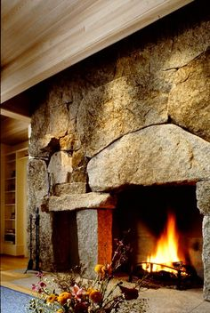 Fireplace and Chimney - Freshwater Stone - Fireplace and Chimney – Freshwater Stone - Granite Fireplace, Cabin Fireplace, Fireplace Surrounds, Fireplace Design, Fireplace Mantles, Rock Fireplaces, Rustic Fireplaces, Wall Mounted Fireplace, Stone Masonry