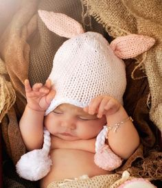 Hugbunny Pink Rabbit Ear Pom Pom Beanie