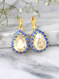 Blue Champagne Earrings, Blue Navy Earrings, Swarovski Bridal Earrings, Something Blue Jewelry, Brid Navy Earrings, Jewelry Design Earrings, Sapphire Earrings, Stone Earrings, Crystal Earrings, Fashion Earrings, Jewlery, Indian Jewellery Design, Indian Jewelry