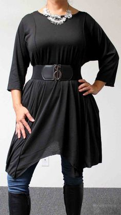 Adorable  Lagenlook Plus size Tunic  in Black color.  Stylish, Versatile, Soft and Comfortable