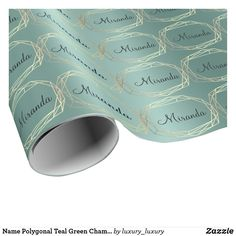 Name Polygonal Teal Green Champaigne Gold Diamond Wrapping Paper Elegant Wedding Themes, Gold Wedding Theme, Wedding Day, Teal Green, Blue Gold, Dark Blue, Wedding Gift Wrapping, Wedding Supplies, Gift Tags