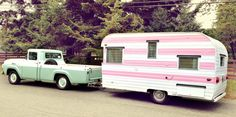 1959 fireball vintage travel trailer and vintage ford truck
