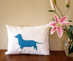 Dachshund throw pillow  silhouette  gifts for by adrianawillsie, $38.00