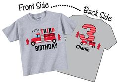 3rd Birthday Shirts for Boys with Firetruck by TheCuteTee on Etsy, $14.95