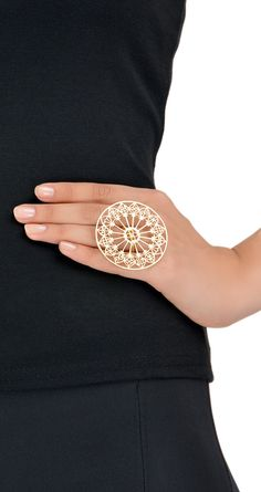 "Ring | Eina Ahluwalia.  ""Rose Window"".  Sterling silver with eek gold plating.  Inspired by the west rose of the Otranto Cathedral, Italy"