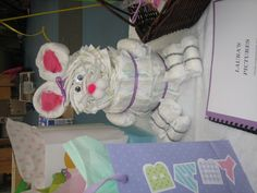 Diaper bunny for a baby shower.