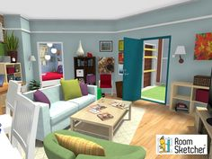 Penny's Apartment from #TBBT - The scene of many awkward conversations between Penny and Leonard. Stop in if you need to talk in Live 3D- http://www.roomsketcher.com/gallery/project/?pid=1616645