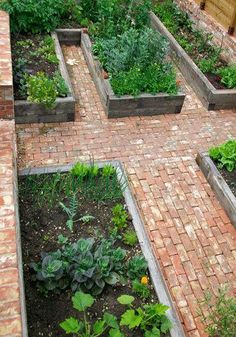 Path Designs Ideas More raised beds! I love the red bricks here. - thats a heavy duty long term garden right there.More raised beds! I love the red bricks here. - thats a heavy duty long term garden right there.
