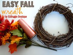 Two Plus Four - formerly KdBuggie Boutique: Fall Decor Tutorial: Simple Silk Flower Grapevine Wreath