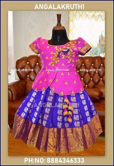 Angalakruthi-Custom designer boutique in Bangalore We. Kids Lehanga Design, Lehanga For Kids, Baby Lehenga, Kids Lehenga, Dresses Kids Girl, Kids Outfits, Kids Pattu Pavadai, Baby Birthday Dress, Kids Blouse Designs