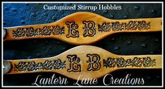 Custom Stirrup Hobbles Initialed-scrolled-stained
