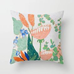 Proteas and Birds of Paradise Painting Throw Pillow by Lara Lee Meintjes - Cover x with pillow insert - Indoor Pillow Throw Cushions, Couch Pillows, Designer Throw Pillows, Down Pillows, Accent Pillows, Paradise Painting, Garden Nursery, Fluffy Pillows, Pillow Design