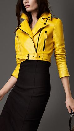 Patent Python Cropped Burberry Biker Jacket #fashion #women #kuyam