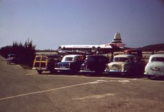 35mm Slide British Airways Airplane Old Cars Parked Bermuda 1958 Red Border