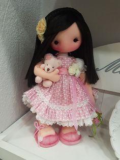 Felt Crafts Dolls, Pink Doll, Hello Dolly, Stuffed Toys Patterns, Fabric Dolls, Doll Face, Softies, Baby Toys, Art Dolls