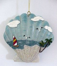 Seashell Ornaments | Sea Shell Christmas Ornament with Beach Scene | Seashells