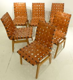 Abel Sorenson; Birch and Leather Chairs for Knoll, c1946.
