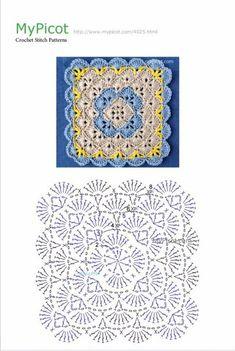 Crochet Me Lovely Crochet Motif Patterns, Granny Square Crochet Pattern, Crochet Diagram, Crochet Chart, Crochet Squares, Picot Crochet, Crochet Home, Crochet Projects, Decoration