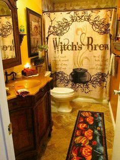 "Not quite sure about having the words ""Witch's Brew"" over the toilet!"