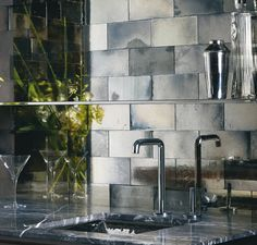 Backsplash Inspiration Mercury Glass Look Ann Sacks Mirror Tiles Mirror Tiles, Decor, Beautiful Kitchens, Tiles, Mirror Backsplash, Vintage Mirror, Metal Tile, Mirrored Subway Tile, Mirror