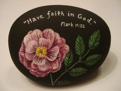 Painted rocks w/ Bible verse - this is more along the style of rock painting I usually do.