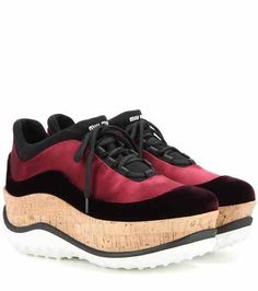 Satin and velvet platform sneakers | Miu Miu
