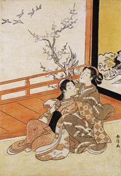Harunobu - Two Women Seated By a Verandah - Fine Art Print
