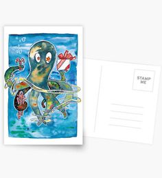 Oktopus Kraken Weihnachten  Grußkarte  Lustige Postkarte für #Weihnachten