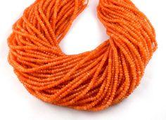 "5 Strands Orange Sapphire Chalcedony Micro Faceted 4mm Gemstone Beads 14.5"" Long #Raagarw"