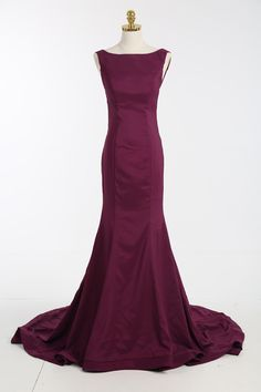 Elegant Sweep Train Burgundy Backless Prom/ Evening Gown