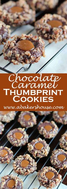 Chocolate Caramel Thumbprint Cookies: The dough is made and refrigerated, then balls of dough are dipped in egg whites and coated with pecans. The caramel is the treat added after baking. Perfect for Holiday cookie exchanges! Best Cookie Recipes, Sweet Recipes, Baking Recipes, Baking Tips, Easy No Bake Desserts, Dessert Recipes, Bar Recipes, Cook Desserts, Fudge