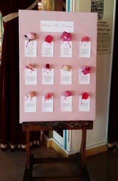 Plan de table original avec têtes de fleurs : pivoines et roses, dans un dégradé…