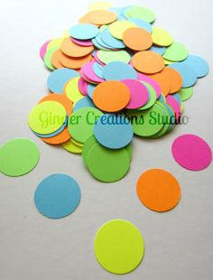 sprinkles birthday party - punch confetti sprinkles out of bright paper - craft idea - decorate large paper cupcakes 1st Birthday Themes, 3rd Birthday Parties, Birthday Ideas, Birthday Party Punches, Polka Dot Theme, Polka Dots, Sprinkle Party, Neon Party, Wedding Confetti