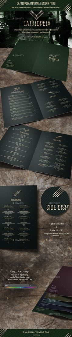 Cassiopeia Minimal Luxury Menu — Photoshop PSD #delicious menu #grunge • Available here → https://graphicriver.net/item/cassiopeia-minimal-luxury-menu/16553387?ref=pxcr