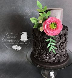 Black bas relief cake, accented in silver with a gum paste hot pink ranunculus Valentine Cake, Wafer Paper, Gum Paste, Custom Cakes, Party Cakes, Cake Cookies, Hot Pink, Cake Decorating, Sweet Treats