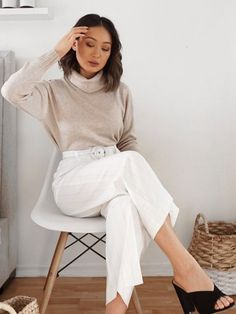 This working from home outfit is Zoom approved. You'll feel polished, professional (and comfortable!) in a chic knit and culottes. Monica pairs the Madison Jumper with the Vanessa Pants and Beth Mules. Home Outfit, Jumper, Bell Sleeve Top, Pairs, Chic, House Styles, Outfits, Tops, Women