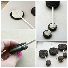 Oreo pop baby rattles. Then dip in blue or pink melted candy coating and add a row of round candy sprinkles across center of wet large Oreo for design ...use a tweezer