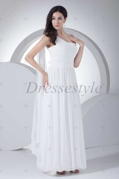 A-line One-shoulder Floor-length Ivory Chiffon Bubble Hem Plus Size Prom Dresses