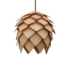 Pendant LightUnique Pine Cone Pendant Light made of American Wooden Canopy, White Pendant Light, Wood Lamps, Unique Lamps, Light Project, Trends, Incandescent Bulbs, Hanging Lights, Light Decorations